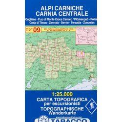 09. Alpi Carniche - Coglians - Sernio, Karnische Alpen turista térkép Tabacco 1: 25 000