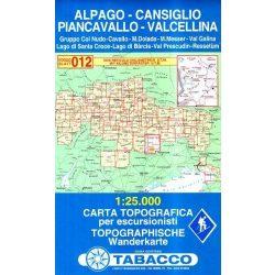 012. Cansiglio - Alpago - Piancavallo - Val Cellina turista térkép Tabacco 1: 25 000