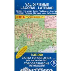 014. Val di Fiemme - Lagorai - Latemar turista térkép Tabacco 1: 25 000