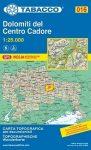016. Dolomiti del Centro Cadore turista térkép Tabacco 1: 25 000