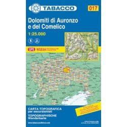 017. Dolomiti di Auronzo e del Comelico Dolomitok turista térkép Tabacco 1: 25 000  TAB 2517