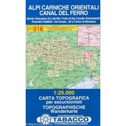 018. Alpi Carniche Orientali - Canal del Ferro turista térkép Tabacco 1: 25 000