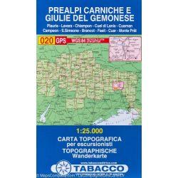 020. Prealpi Carniche e Giulie del Gemonese turista térkép Tabacco 1: 25 000