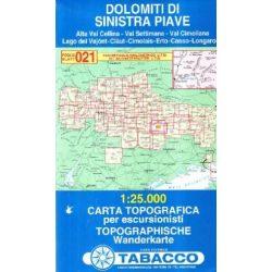 021. Dolomiti di Sinistra Piave turista térkép Tabacco 1: 25 000