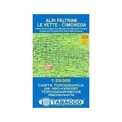 023. Alpi Feltrine - Cimònega - Le Vette turista térkép Tabacco 1: 25 000