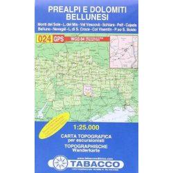 024. Prealpi e Dolomiti Bellunesi turista térkép Tabacco 1: 25 000