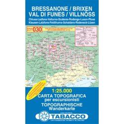 030. Bressanone, Brixen - Val di Funes, Villnösstal turista térkép Tabacco 1: 25 000