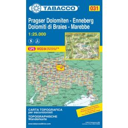 031. Dolomiti di Braies - Marebbe, Pragser Dolomiten - Enneberg turista térkép Tabacco 1: 25 000