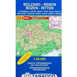 034. Bolzano - Renon, Bozen - Ritten - Tschögglberg turista térkép Tabacco 1: 25 000