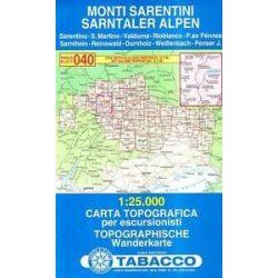 040. Monti Sarentini, Sarntaler Alpen turista térkép Tabacco 1: 25 000