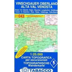 043. Alta Val Venosta, Vinschgauer Oberland With ski-touring routes turista térkép Tabacco 1: 25 000