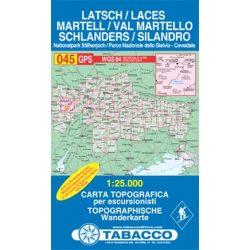 045. Val Martello-Silandro-Laces, Martell-Schlanders-Latsch turista térkép Tabacco 1: 25 000