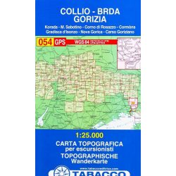 054. Collio, Brda, Gorizia, Hiking map of Gorizi turista térkép Tabacco 1: 25 000   TAB 2554