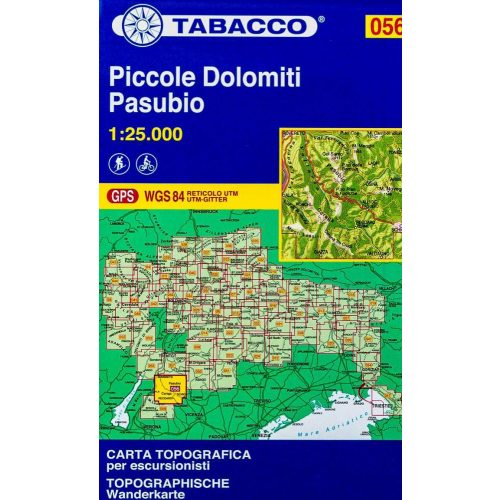 056. Hiking map of Piccole Dolomiti Pasubio turista térkép Tabacco 1: 25 000