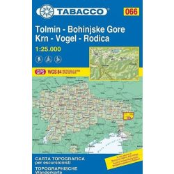 066. Tolmin térkép, Bohinjske Gore, Krn, Vogel, Rodica turista térkép Tabacco 1: 25 000   2017 TAB 2566