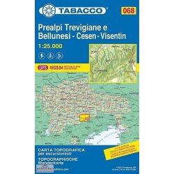 068. Prealpi turista térkép Tabacco 1: 25 000   2017