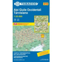 019. Alpi Giulie Occidentali - Tarvisiano turista térkép Tabacco 1: 25 000  TAB 2519