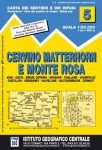 Cervino Matterhorn térkép E Monte Rosa turista térkép IGC 1:50 000