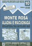 Monte Rosa térkép, Monte Rosa Alagna e Macugnaga turista térkép IGC 1:50 000