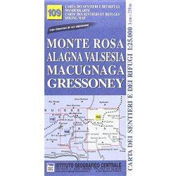 Monte Rosa térkép, Monte Rosa Alagna Valsesia turista térkép IGC 1:50 000