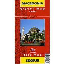 Macedonia térkép, Skopje térkép Travel map 1:260 000,1:15 000