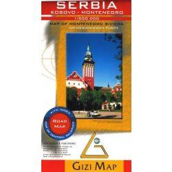 Szerbia, Kosovo, Montenegro térkép Gizi Map  1:500 000