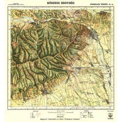 Kőszegi-hegység falitérkép antik, faximile 1922 HM 1:40 000 51x53