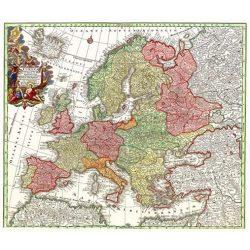 Európa falitérkép antikolt MH. Európa 1729. 68x62 cm