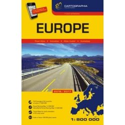 Európa atlasz kötött Cartographia / Európa atlasz Hallwag  1:800 000  2016-17