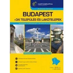 Budapest atlasz Cartographia, Budapest és 34 település térképe 1:20 000  1:10 000    2017