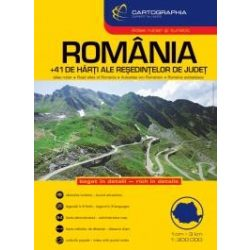 Románia atlasz, autóatlasz  1:300 000 Cartographia 2017
