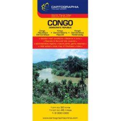Congo térkép, Kongó térkép Cartographia Kongói Demokratikus Köztársaság 1:3 300 000