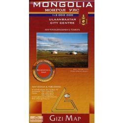 Mongólia térkép domborzati Gizi Map 1:2 000 000