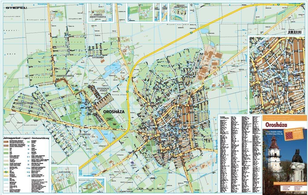 orosháza térkép Orosháza térkép 75 x 50 cm 1:15 000 Stiefel 2008   Térkép Center  orosháza térkép