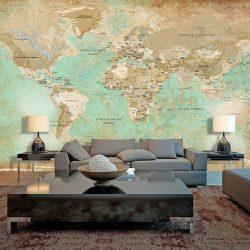 XXL Fotótapéta térkép - Turquoise World Map II Világtérkép 500x280