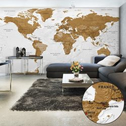 XXL Fotótapéta térkép - World Map: White Oceans II Világtérkép 500x280