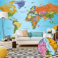 XXL Fotótapéta térkép - World Map: Colourful Geography II Világtérkép 500x280