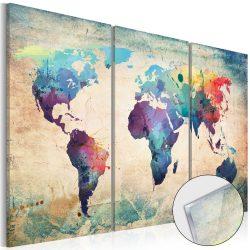 Akrilüveg kép - Rainbow Map [Glass]  Világtérkép 120x80