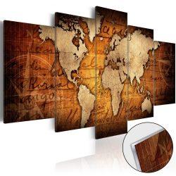 Akrilüveg kép - Acrylic prints – Bronze map I Világtérkép 100x50