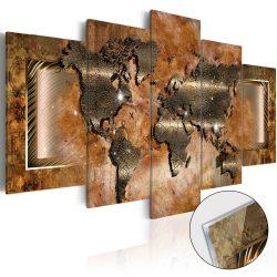 Akrilüveg kép - Steel Map [Glass]  Világtérkép 100x50