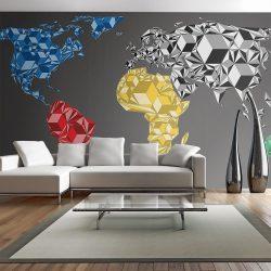 XXL Fotótapéta térkép - Map of the World - colorful solids Világtérkép 550x270