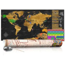 KAPARÓS TÉRKÉP - GOLDEN MAP - POSTER, Kaparós világtérkép vászonkép 100 x 50 cm angol nyelvű - krémszínű hengerben