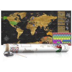KAPARÓS TÉRKÉP - GOLDEN MAP - POSTER, Kaparós világtérkép vászonkép 100 x 50 cm angol nyelvű - fehér hengerben