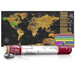 KAPARÓS TÉRKÉP - GOLDEN MAP - POSTER, Kaparós világtérkép vászonkép 100 x 50 cm angol nyelvű - bordó hengerben