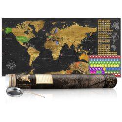 KAPARÓS TÉRKÉP - GOLDEN MAP - POSTER, Kaparós világtérkép vászonkép 100 x 50 cm angol nyelvű - barna hengerben