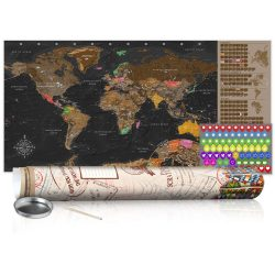 KAPARÓS TÉRKÉP - BROWN MAP - POSTER, Kaparós világtérkép vászonkép 100 x 50 cm angol nyelvű - krémszínű hengerben