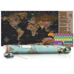 KAPARÓS TÉRKÉP - BROWN MAP - POSTER, Kaparós világtérkép vászonkép 100 x 50 cm angol nyelvű - zöld hengerben
