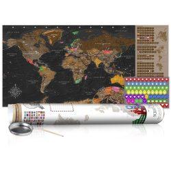 KAPARÓS TÉRKÉP - BROWN MAP - POSTER, Kaparós világtérkép vászonkép 100 x 50 cm angol nyelvű - fehér hengerben