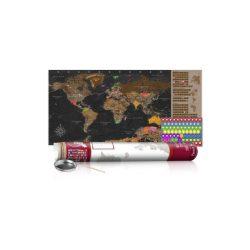 KAPARÓS TÉRKÉP - BROWN MAP - POSTER, Kaparós világtérkép vászonkép 100 x 50 cm angol nyelvű - bordó hengerben