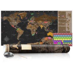 KAPARÓS TÉRKÉP - BROWN MAP - POSTER, Kaparós világtérkép vászonkép 100 x 50 cm angol nyelvű - barna hengerben